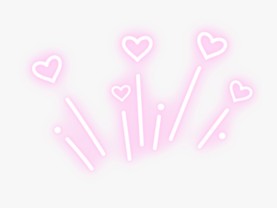 #glowing #neon #pink #heart #hearts #sign #boom #lights - Aesthetic Neon Light Transparent, Transparent Clipart