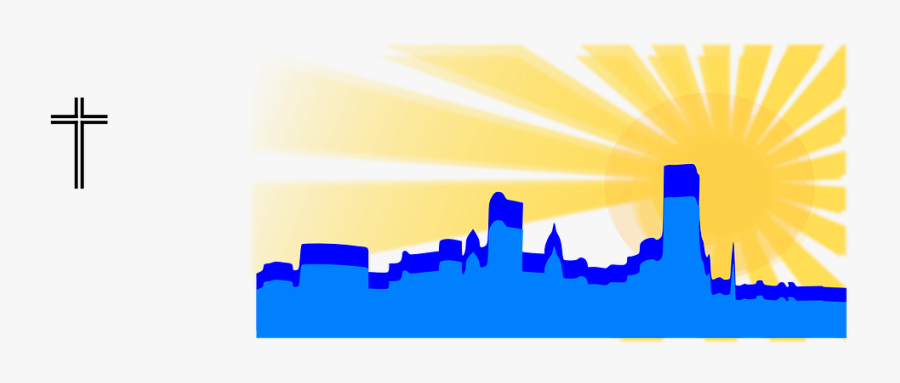 Skyline City Sunrise Free Picture - Skyline, Transparent Clipart