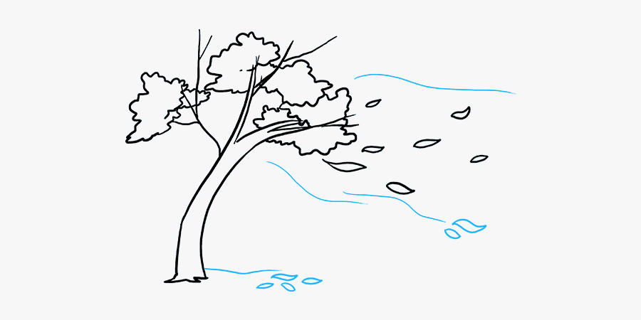 How To Draw Falling Leaves - Line Art, Transparent Clipart