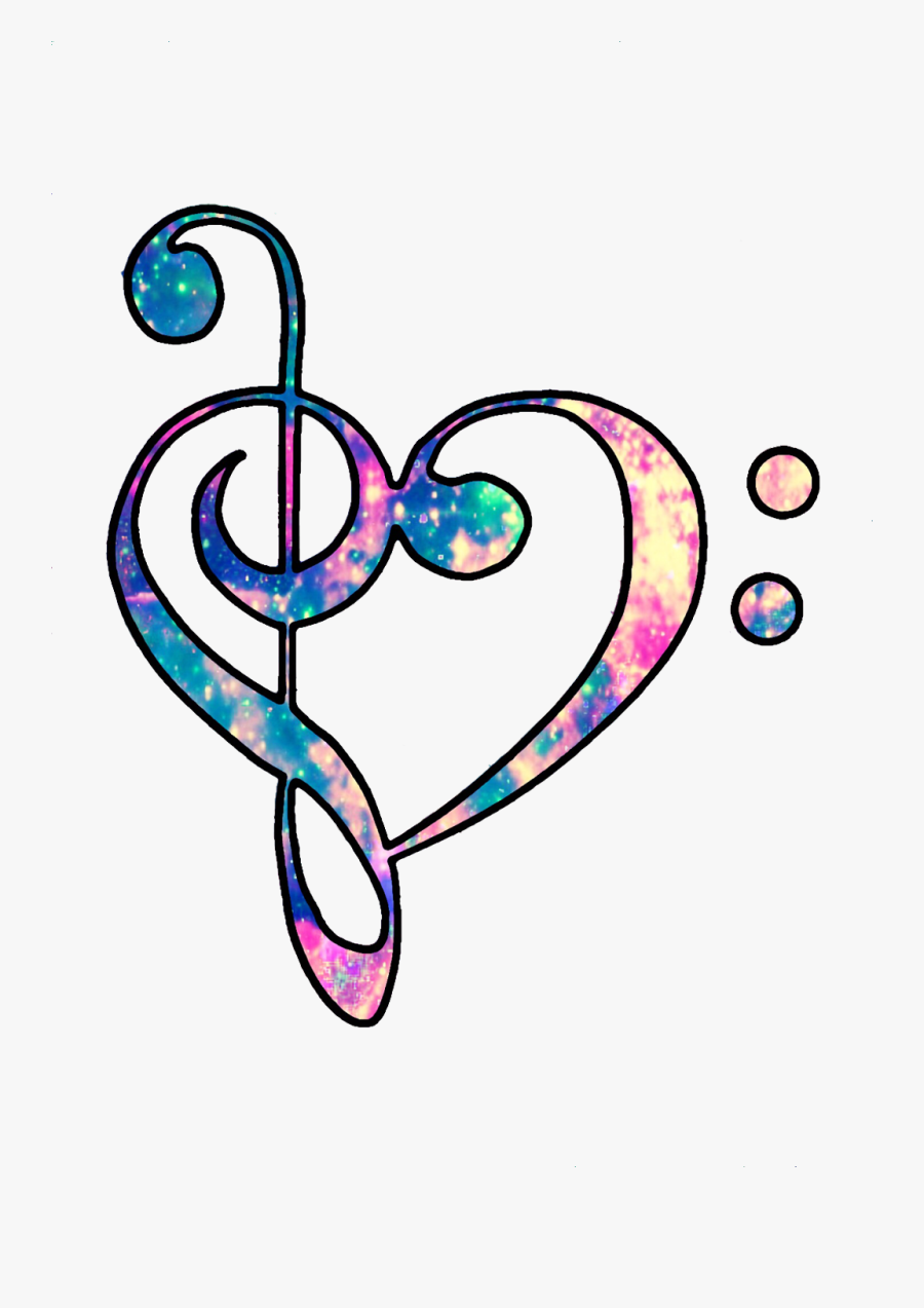 #ftestickers #hearts #love #music #trebleclef #musicnotes - Colorful Music Notes Heart, Transparent Clipart