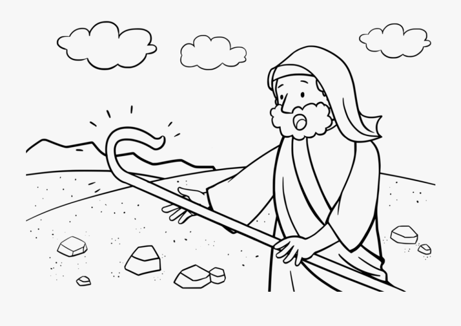 Moses And His Staff Coloring Page, Transparent Clipart