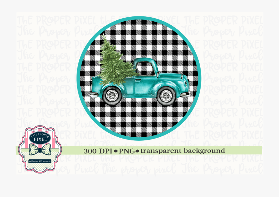 Vintage Truck With Christmas Tree Sublimation Printable, Transparent Clipart