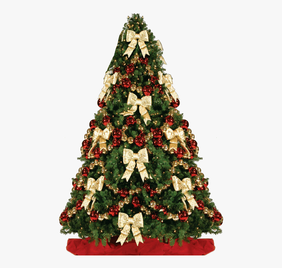 Transparent Png Christmas Decorations - Christmas Tree Decorated With Bows, Transparent Clipart