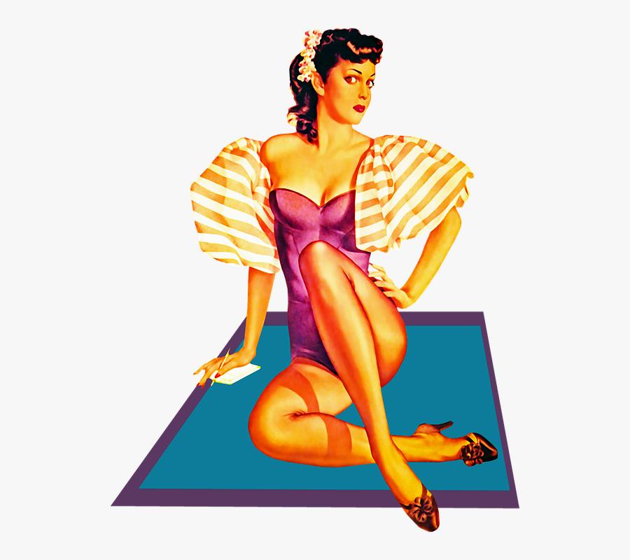 Transparent Pinup Girl Png - Illustration Pin Up Rétro, Transparent Clipart