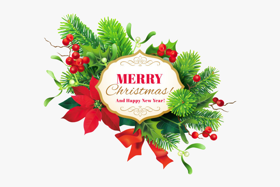 Holly,christmas Decoration,christmas Family,illustration - Merry Christmas And Happy New Year Png, Transparent Clipart