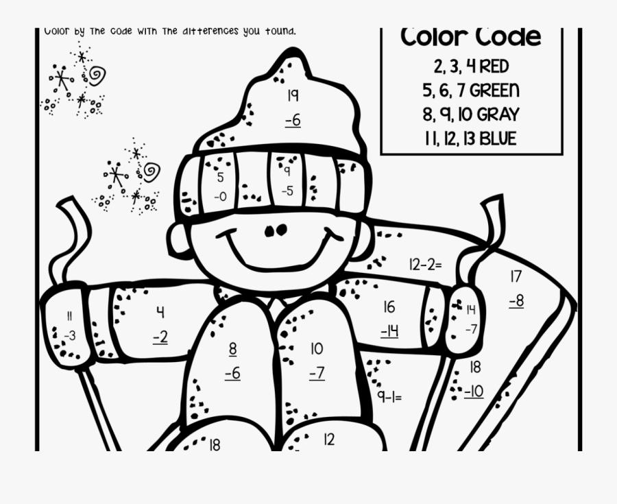 Transparent Third Grade Clipart - 2nd Grade Subtraction Coloring Page, Transparent Clipart