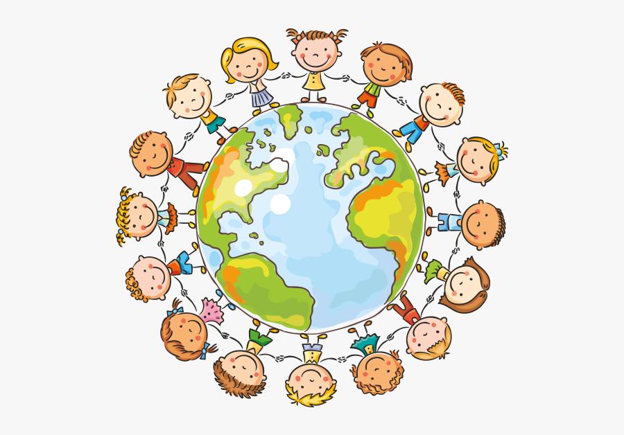 Clipart Dünya Üzerindeki Tel Çocuklar - Earth With People Drawing, Transparent Clipart