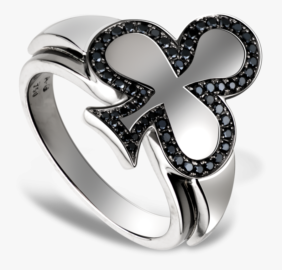 Clubs Ring In White Gold, Set In 58 Black Diamonds - Ring, Transparent Clipart