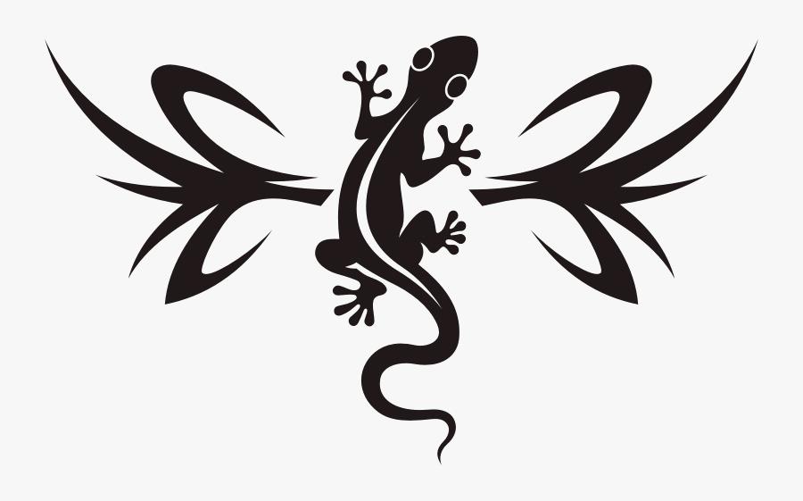 Lizard Clipart Southwest - Tribal Gecko Tattoo, Transparent Clipart