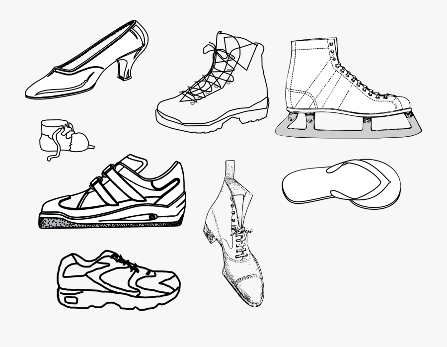 Outline Drawings Of Various Shoes - Running Shoe Clip Art, Transparent Clipart