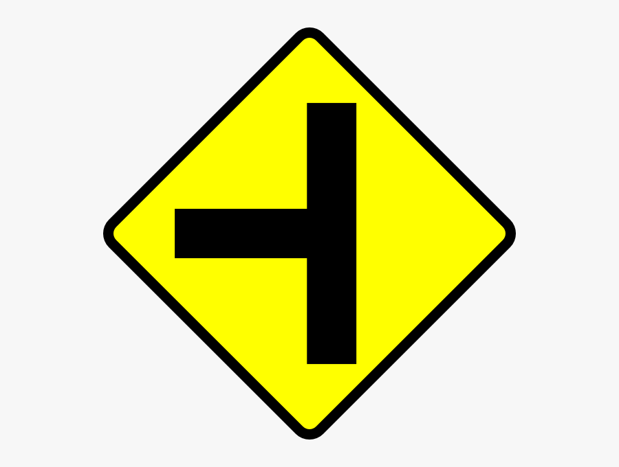 Caution T Junction Road Sign Clip Art Free Vector 4vector - You Must Turn Left At The Crossing Ahead, Transparent Clipart