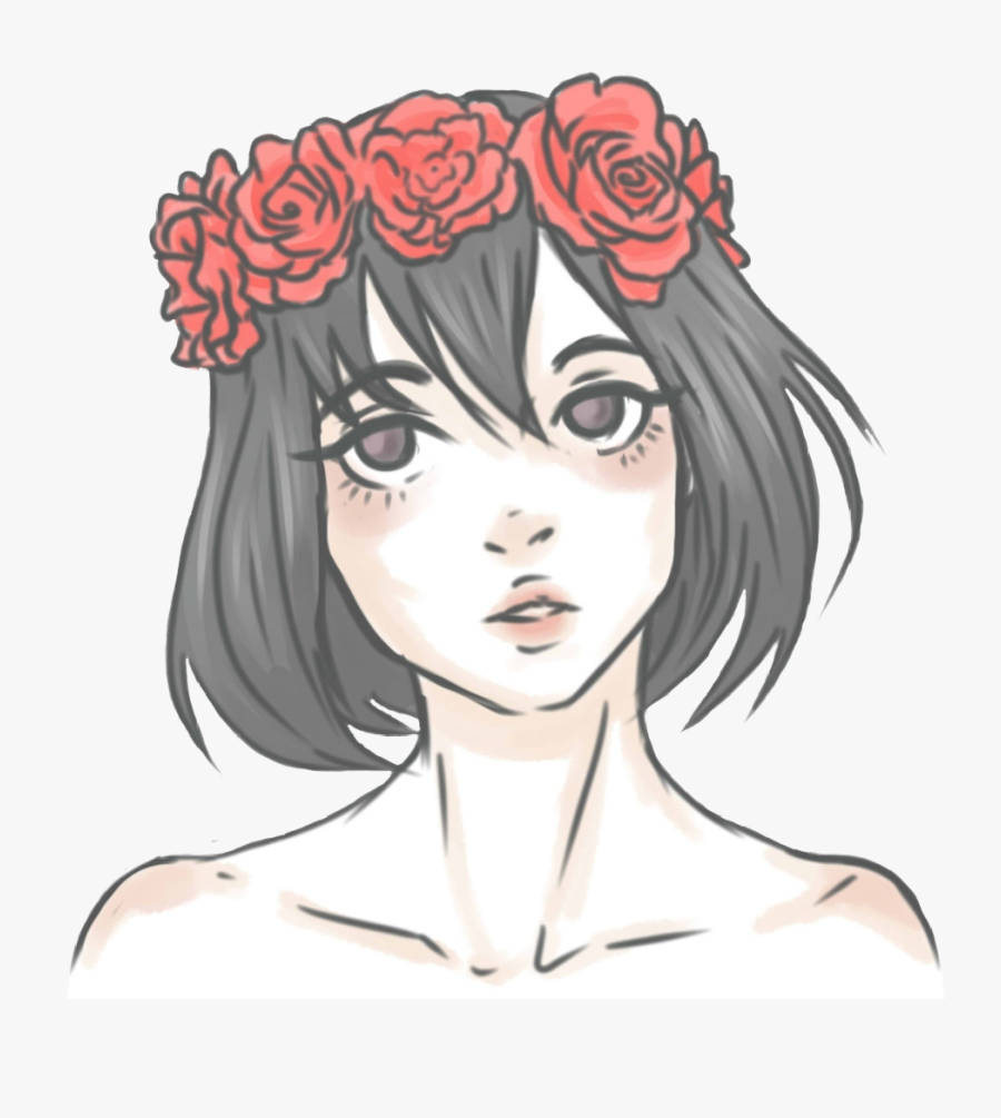 Girl Asian Anime Kawaii Flowercrown Flowers Red Roses - Easy Flower Crown Drawing, Transparent Clipart