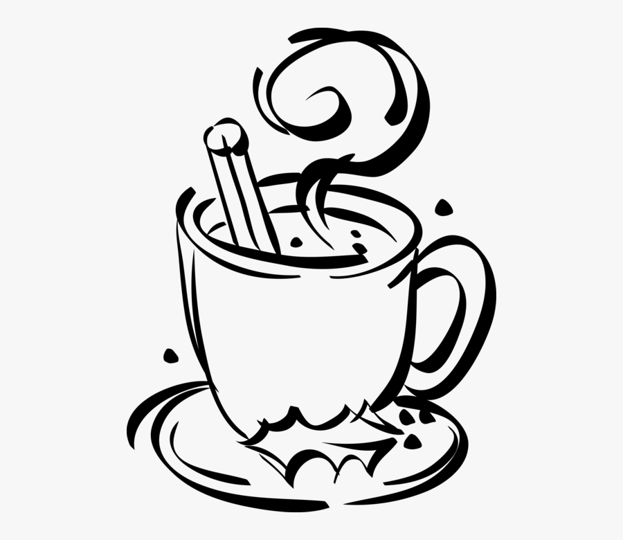 Vector Illustration Of Cup Of Hot Chocolate With Christmas - Hot Cocoa Clipart Black And White, Transparent Clipart