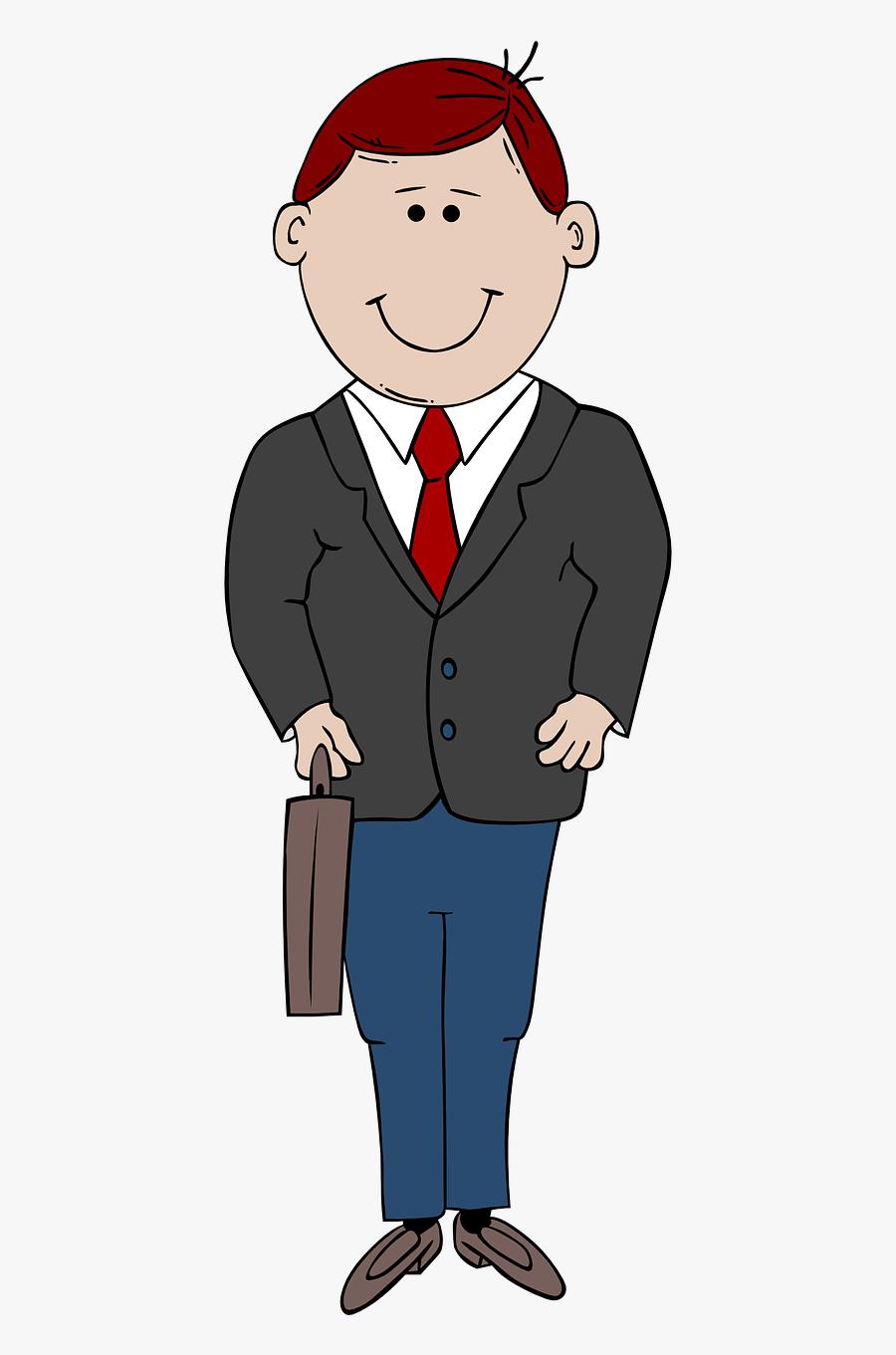 Cartoon Man In Suit, Transparent Clipart