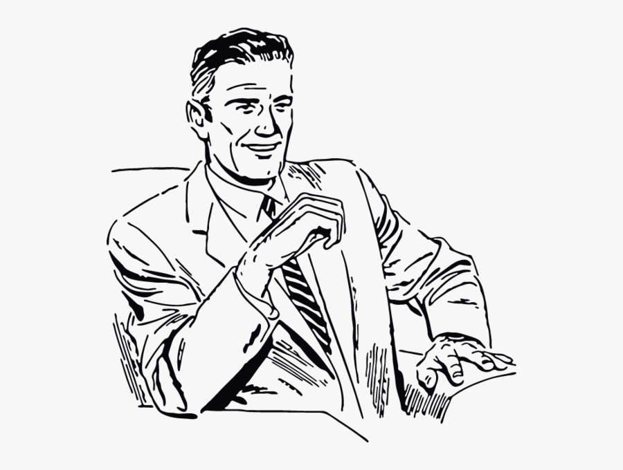 Guy In Suit Drawing, Transparent Clipart