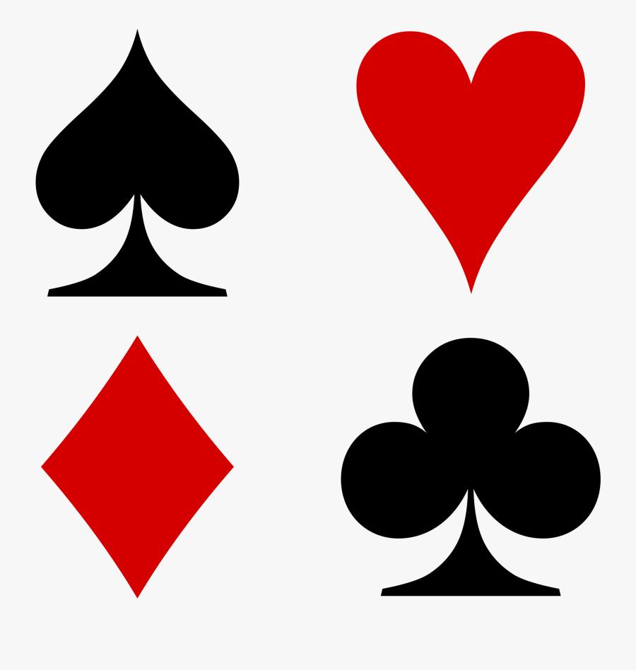 Playing Cards Suit Heart Leaf Transparent Image Clipart - Hearts Diamonds Clubs Spades, Transparent Clipart