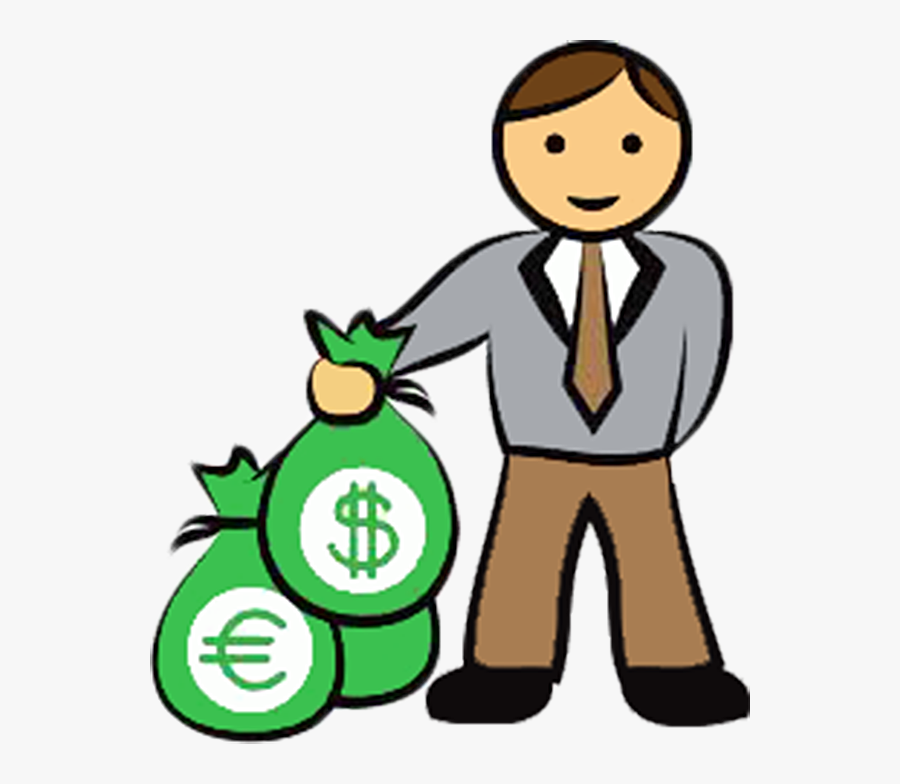 Money Bag Stock Photography Clip Art - Cartoon Man With Money, Transparent Clipart