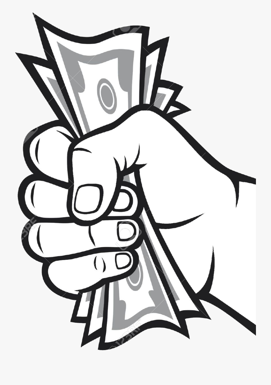 Drawing Money Bag Banknote - Hand Holding Money Bag, Transparent Clipart
