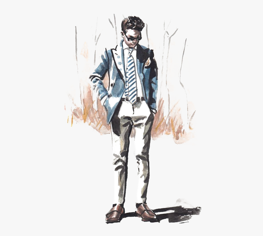 Week Fashion York Illustration Suit Free Download Image - Men Fashion Drawing Png, Transparent Clipart