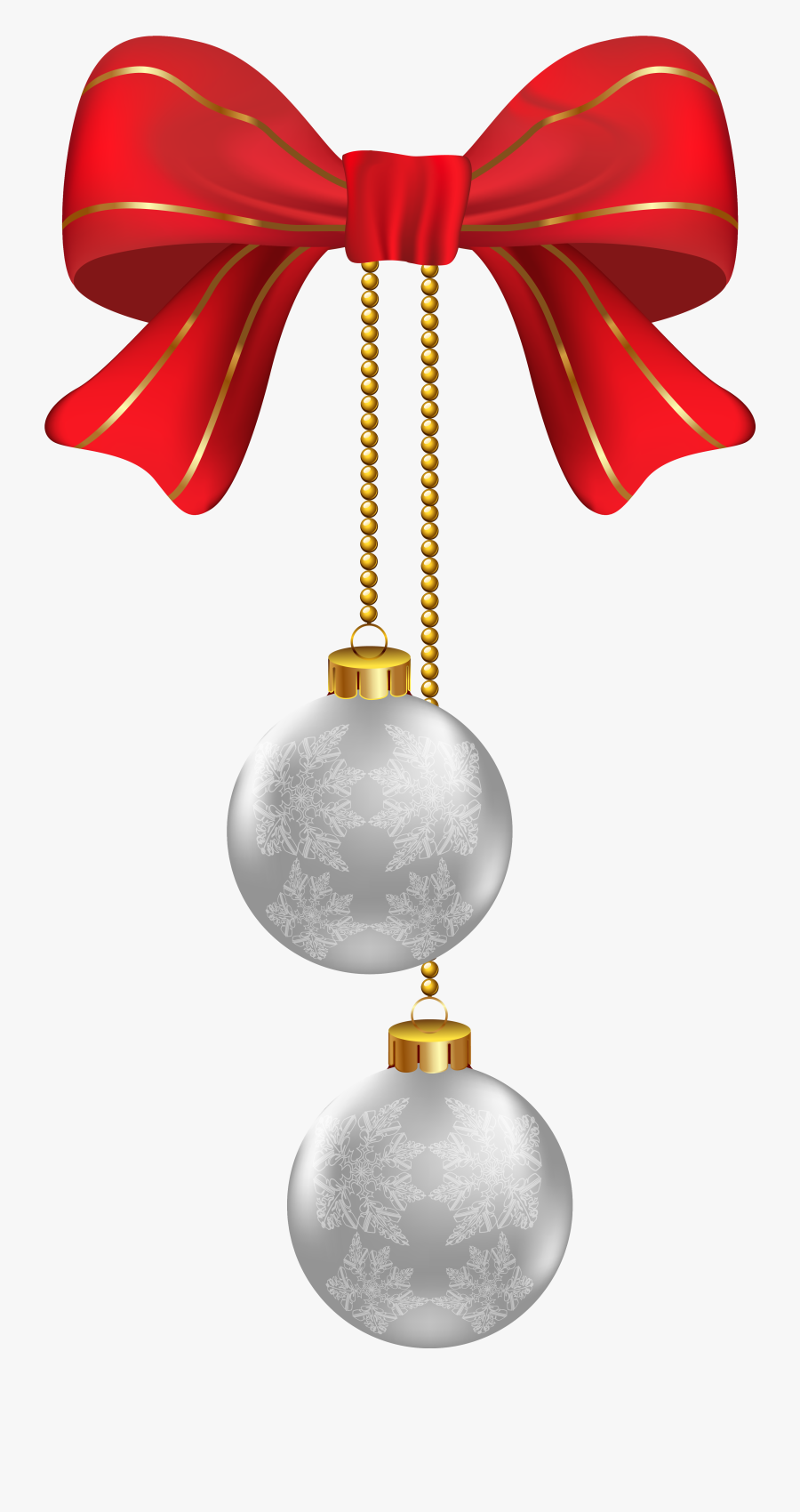Ornaments Clipart Silver - Silver Christmas Hanging Decorations, Transparent Clipart