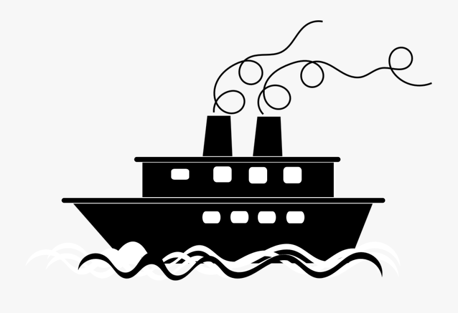 Yacht Clipart Ocean Wave - Transparent Background Black And White Boat Clipart, Transparent Clipart