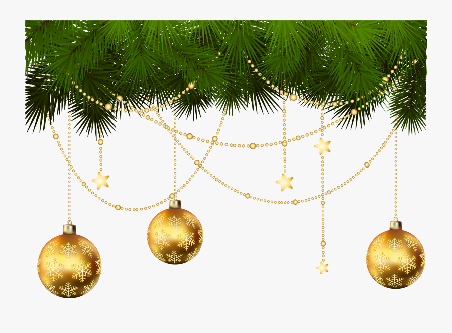 Christmas Tree Christmas Ornament Clip Art - Transparent Gold Christmas Ornaments Png, Transparent Clipart