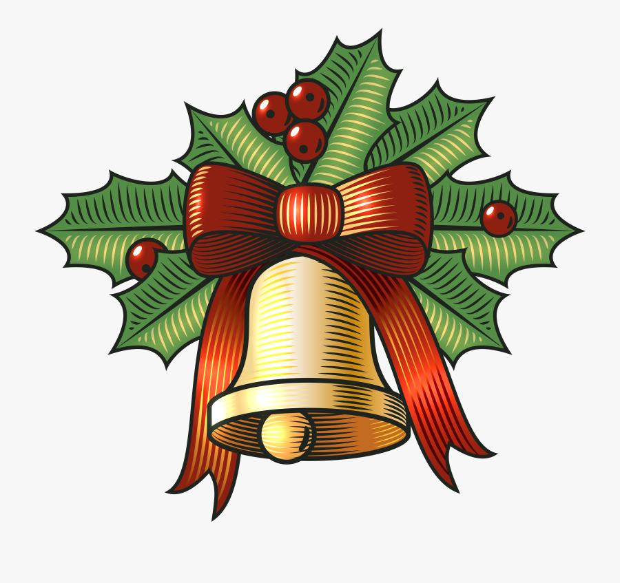 Large Christmas Bell With Holly Png Clip Art Image - Clip Art Christmas Bells Holly, Transparent Clipart