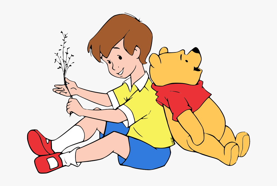 Transparent Kids Hugging Clipart - Cartoon Winnie The Pooh And Christopher Robin, Transparent Clipart
