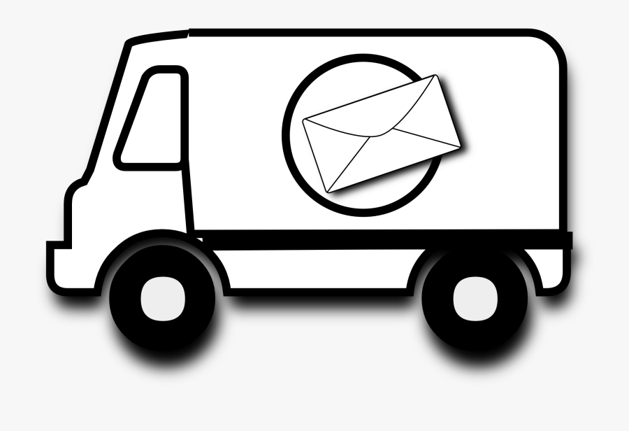 Mail Black And White Clipart - Mail Truck Clip Art Black And White, Transparent Clipart