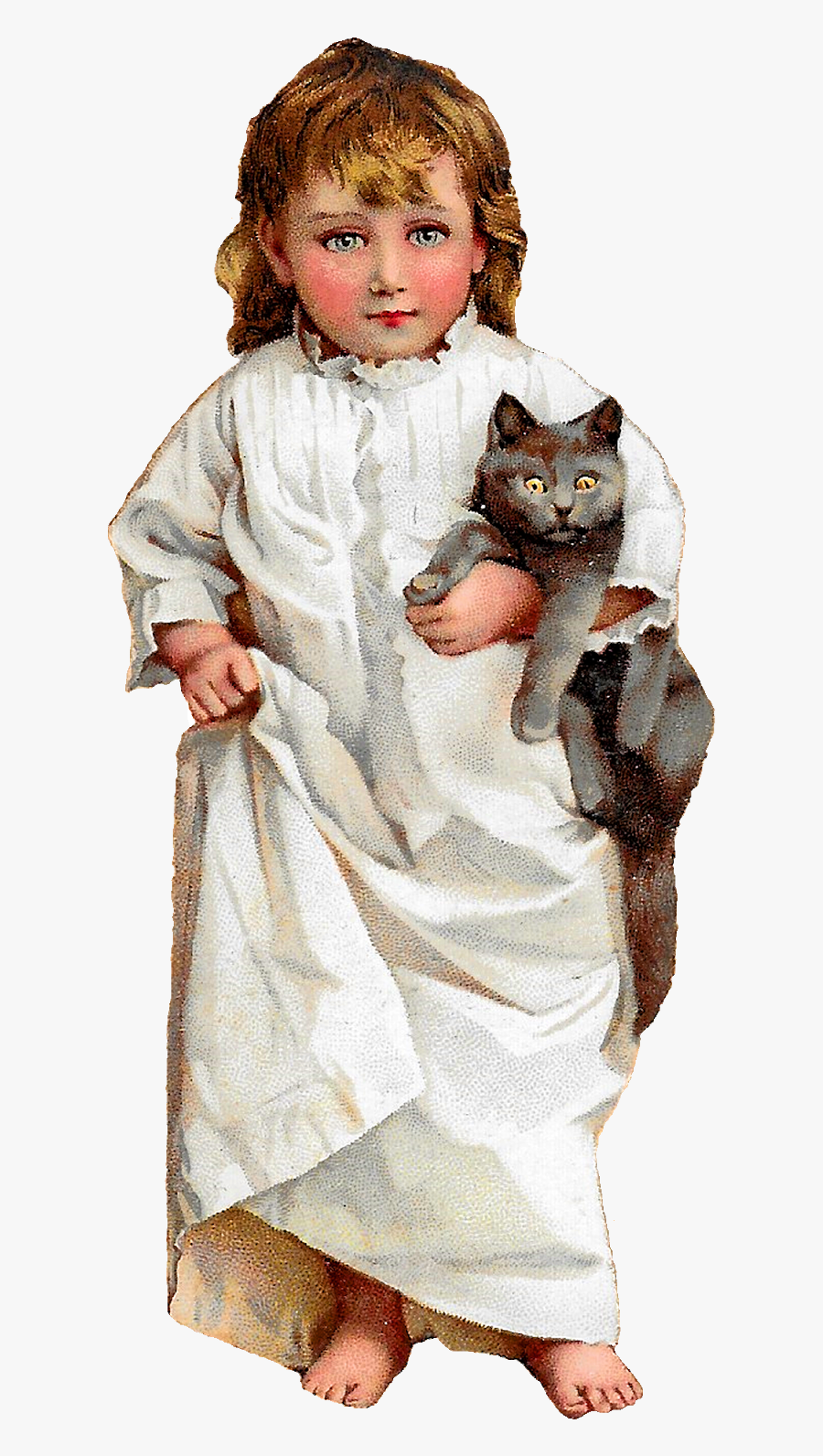 Cat Girl Bedtime Image Pajamas Clipart Antique Illustration - Girl And Cat Clipart Png, Transparent Clipart