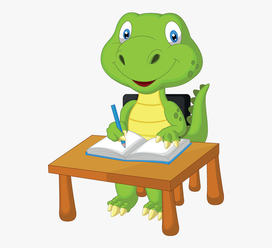 Dinosaur Studying Clipart , Png Download - Cute Cartoon Animals Studying, Transparent Clipart