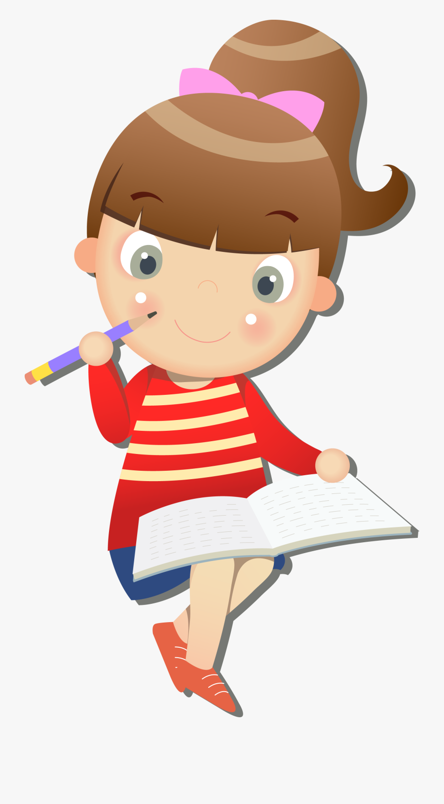 Cartoon Network Clipart Happy Girl - Girl Studying Cartoon Png, Transparent Clipart