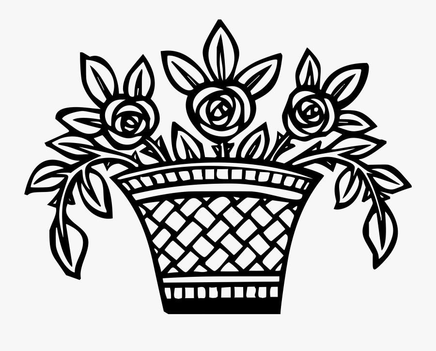 Basket Clipart Sketch - Drawing Of Flowers In Basket, Transparent Clipart