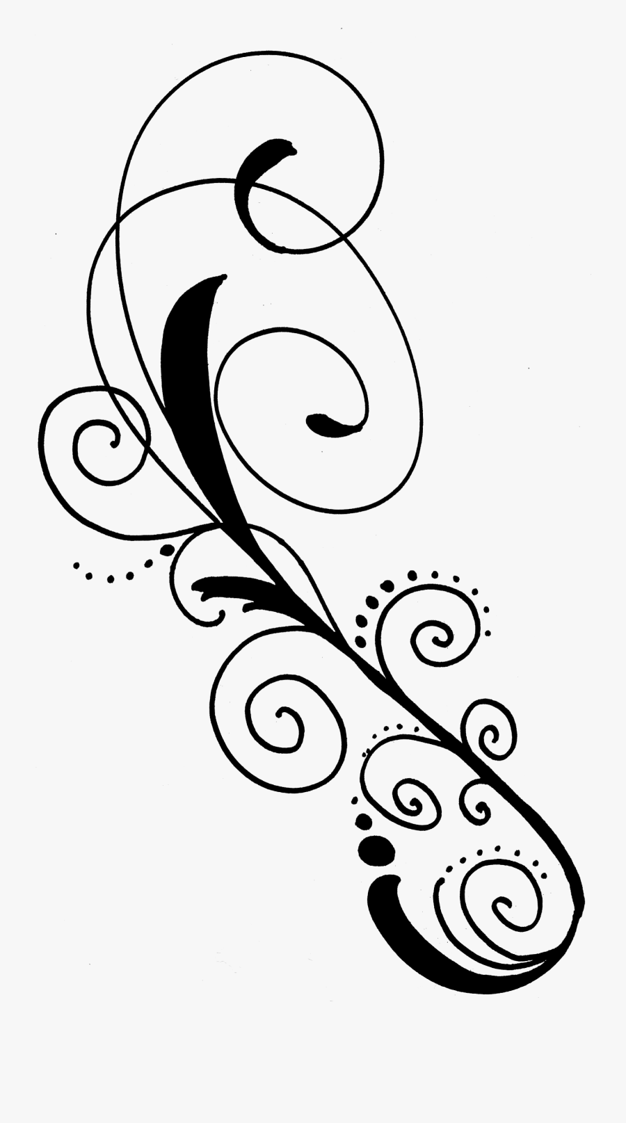 Line Clipart Black Swirl - Black Swirl Design No Background, Transparent Clipart