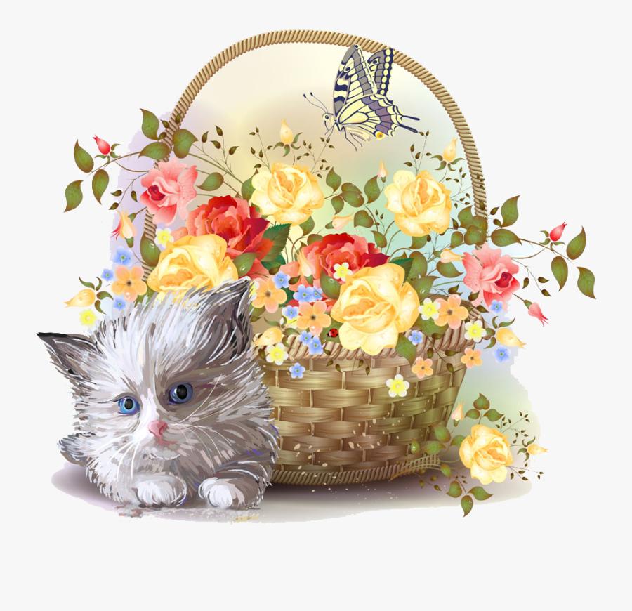 Kitten Clipart Basket Clipart - Victorian Style Flower Basket, Transparent Clipart