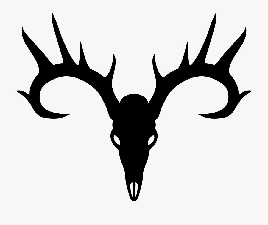 Black Deer Skull Silhouette, Transparent Clipart