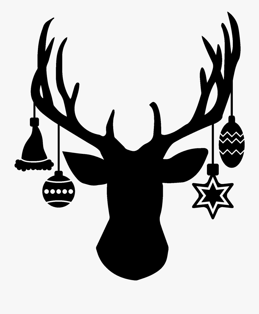 Clip Art With Hanging Ornaments Silhouette - Christmas Deer Head Silhouette, Transparent Clipart