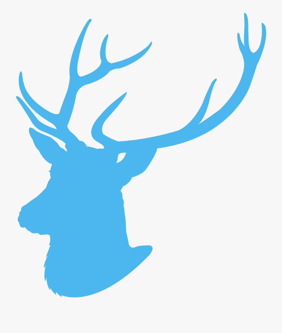 Blue Deer Head Silhouette, Transparent Clipart