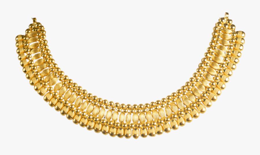 Jewelry Clipart Golden Necklace - Kerala Gold Necklace Design, Transparent Clipart