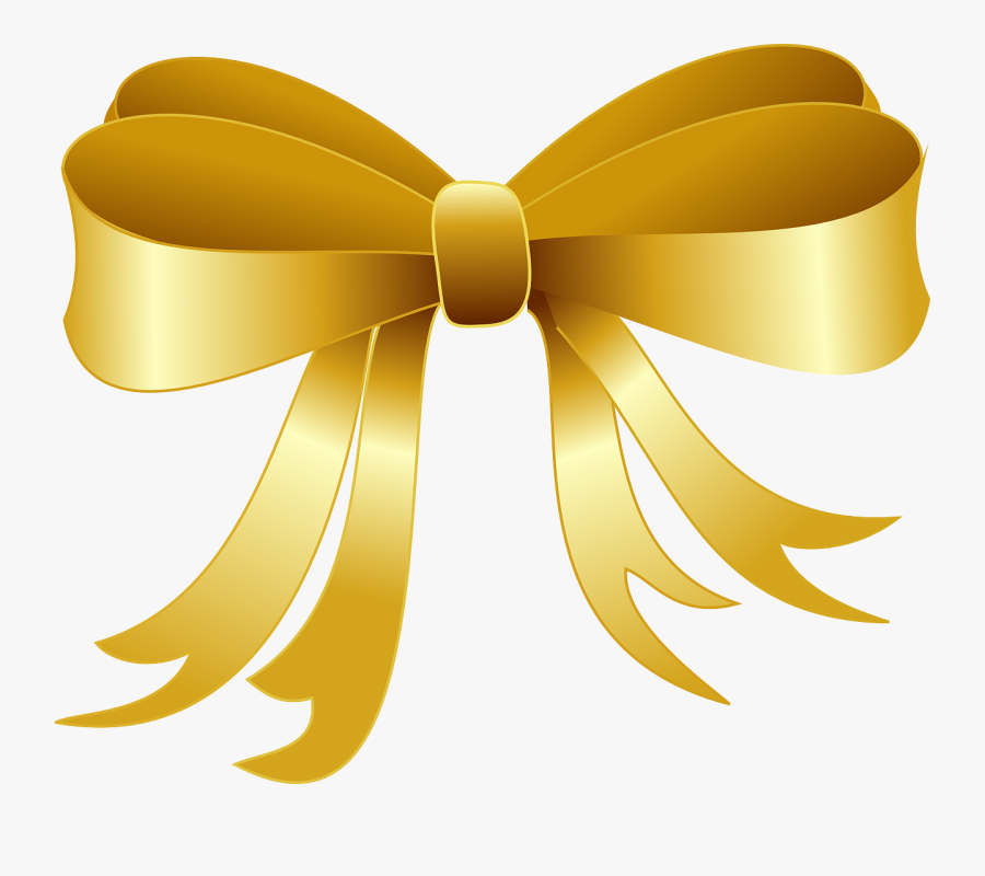 Gold Christmas Bow Clipart, Transparent Clipart