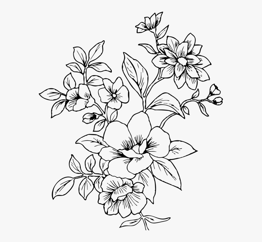 Line Art,plant,flora - Flower Line Drawing Png, Transparent Clipart