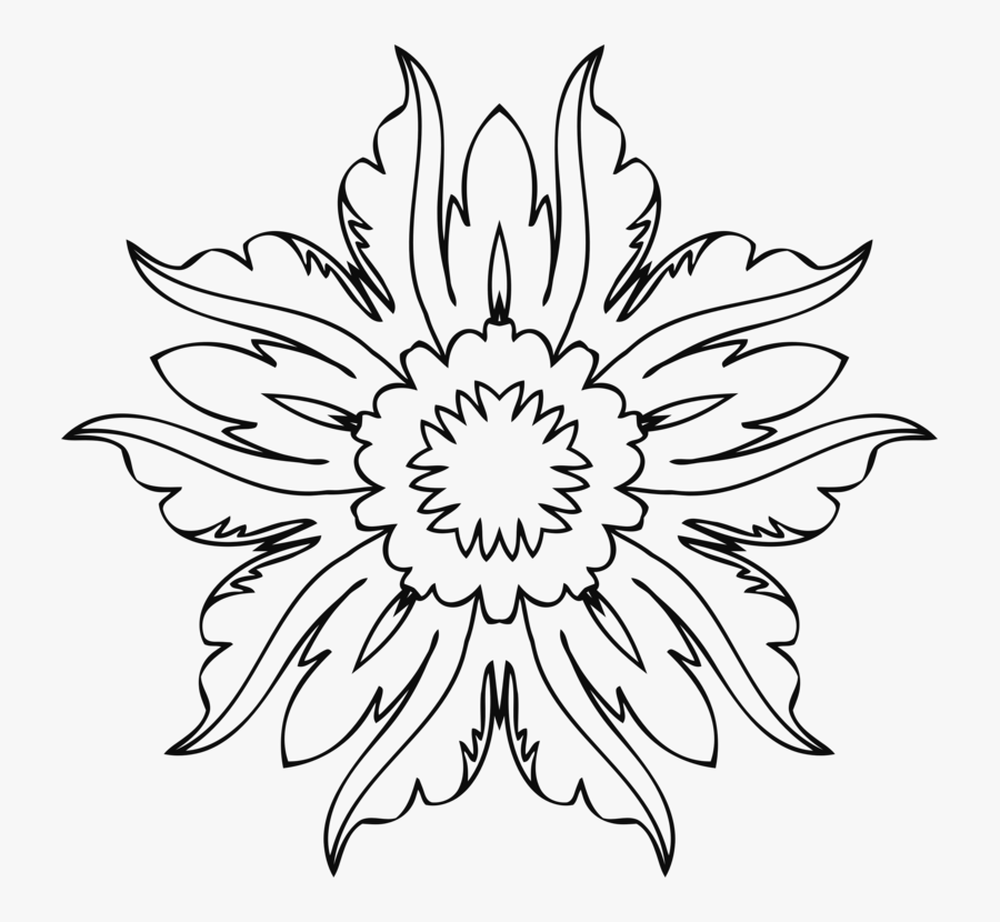 Symmetry,monochrome Photography,petal - Flower Line Art Png, Transparent Clipart