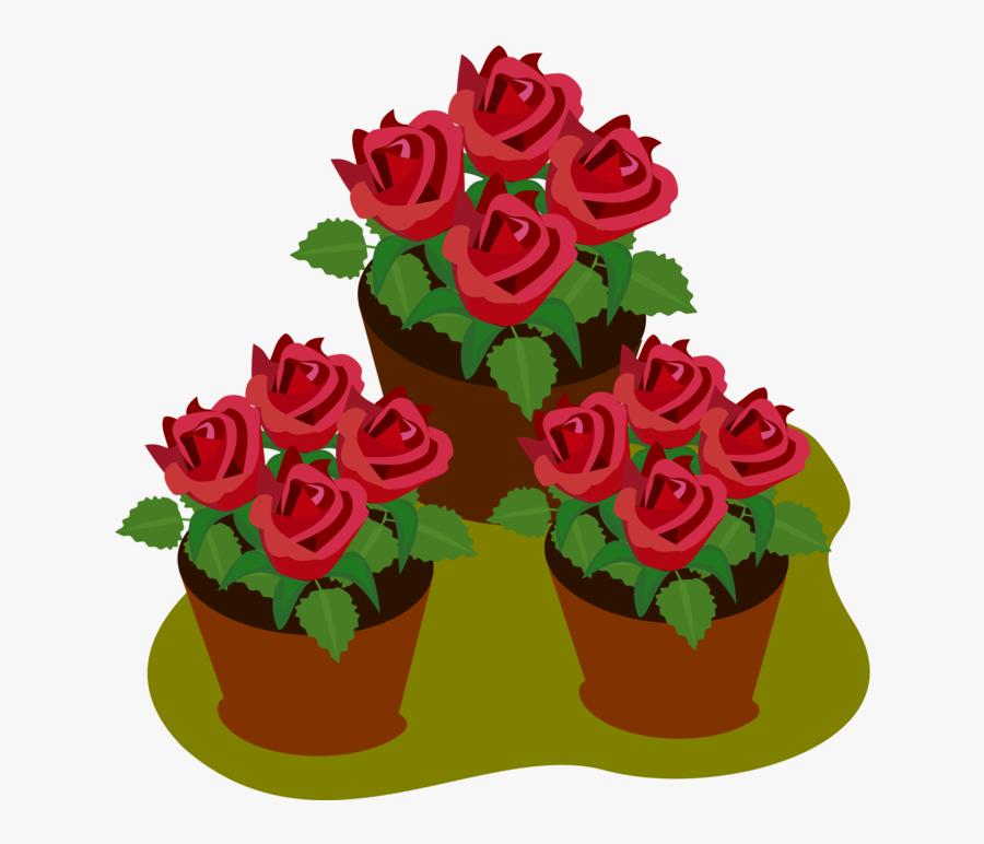 Transparent Floral Clipart - Simple Rose Flower Pot Drawing, Transparent Clipart