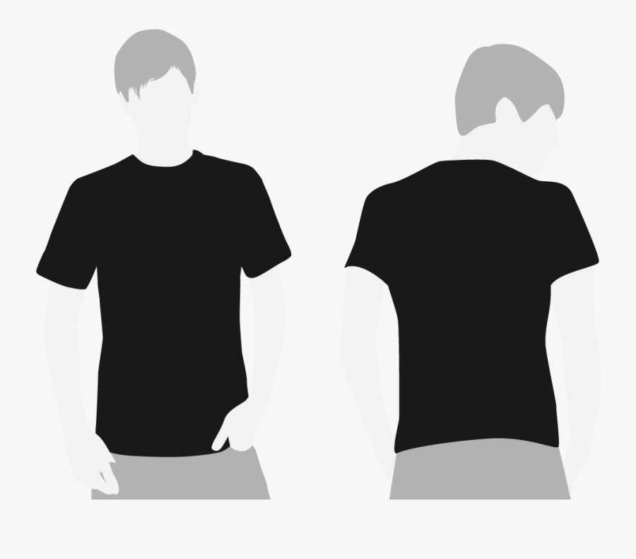 T Shirt Clipart Front And Back - Black T Shirt Both Sides, Transparent Clipart