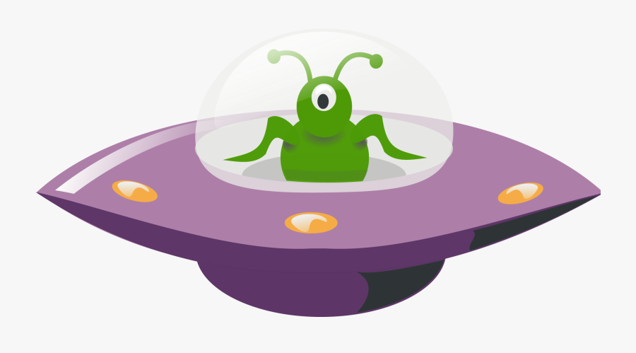 Ufo In Cartoon Style - Alien In Ufo Png, Transparent Clipart