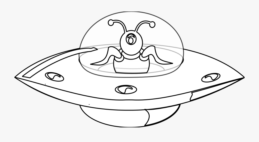 Ufo In Style Black White Line Art Christmas Xmas Electronics - Ufo Clipart Black And White, Transparent Clipart