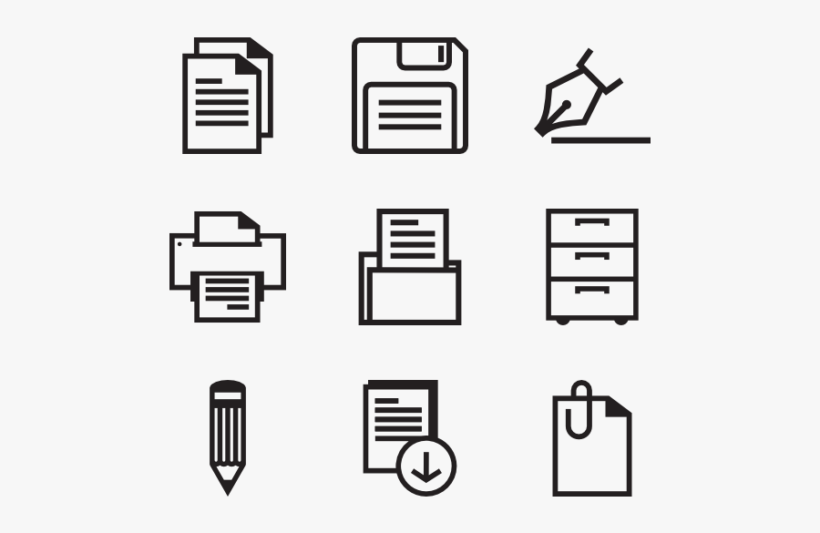 Bold Office Icons - Office Icons Vector Png, Transparent Clipart