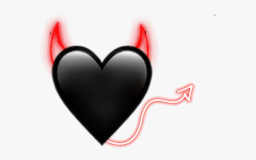 #devil #demon #horn #tail #emoji #love #heart #black - Heart, Transparent Clipart