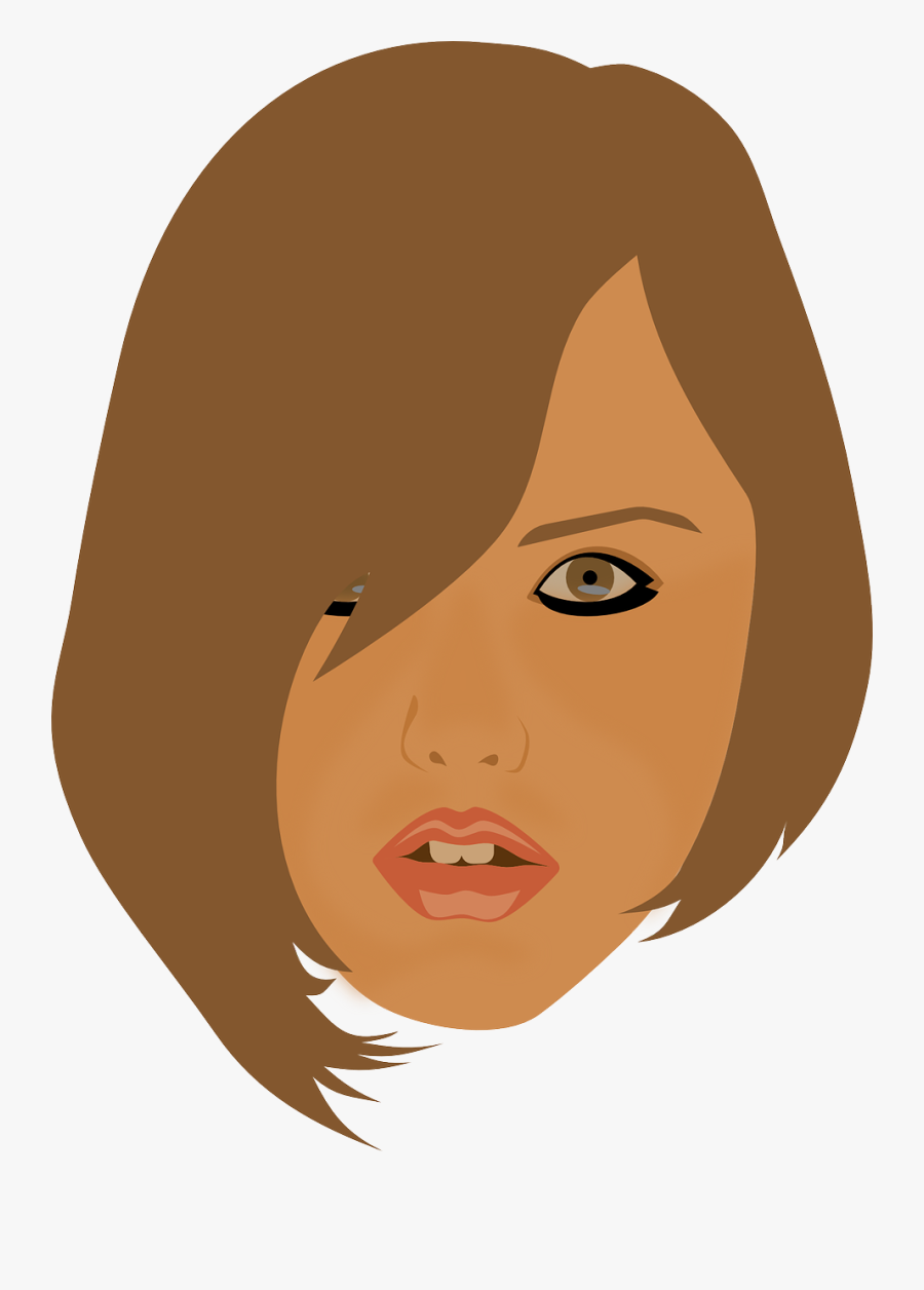 Beauty Brunette Face Girl Head Png Image - Brown Hair, Transparent Clipart