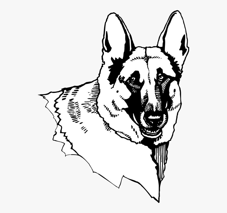 Side Drawing German Shepherd - Old German Shepherd Dog, Transparent Clipart
